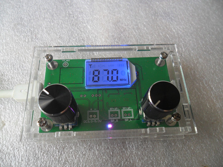 ชุดภาครับ FM 76-108 MHz มีขยายเสียง 3+3 วัตต์ พร้อมกล่องอะคริลิค
