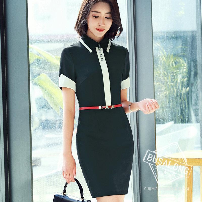 ชุดเดรสทำงาน สีดำ คอปก แต่งคาดด้วยสีขาวเก๋ แขนสั้นแต่งแขนพับสีขาว