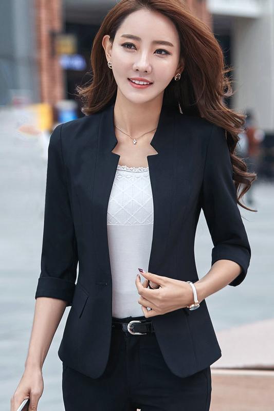 เสื้อสูทแฟชั่น เสื้อสูทสำหรับผู้หญิง พร้อมส่ง สีดำ คอวี แต่งเว้าช่วงคอเสื้อ คัตติ้งสวย งานเนี๊ยบ