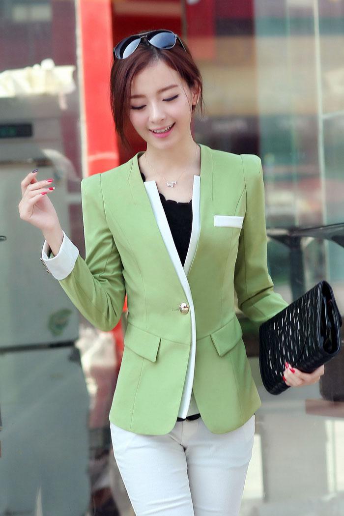 เสื้อสูทแฟชั่น พร้อมส่ง แขนยาวแต่งแขนพับ เข้ารูป สีเขียว คอวีลึก