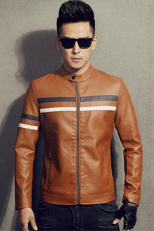 แจ็คเก็ตหนังผู้ชาย เสื้อหนังผู้ชาย สีเหลืองอมน้ำตาล คอจีน หนัง PU คุณภาพงานพรีเมี่ยม หนังนิ่ม