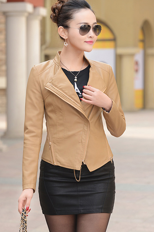 เสื้อแจ็คเก็ต เสื้อหนังแฟชั่น พร้อมส่ง สีกากี ทำจากหนังแกะสังเคราะห์ หนังเนื้อนิ่ม Premium Quality สินค้าสวยหนังดี