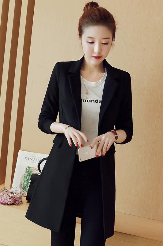 เสื้อสูทแฟชั่น เสื้อสูทตัวยาว พร้อมส่ง สีดำ คอปก แขนยาว ตัวยาวคลุมสะโพก ทรงเรียบเก๋