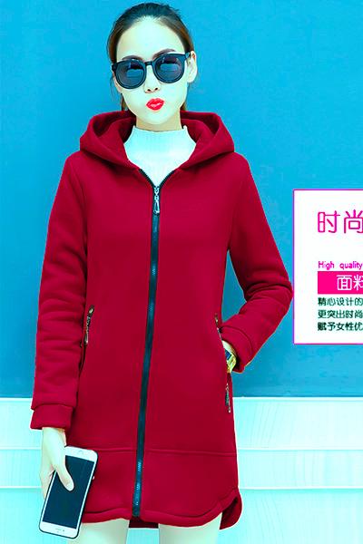 เสื้อกันหนาว พร้อมส่ง สีแดงสด ผ้าฟลีซ ใส่สบาย แบบเรียบเก๋