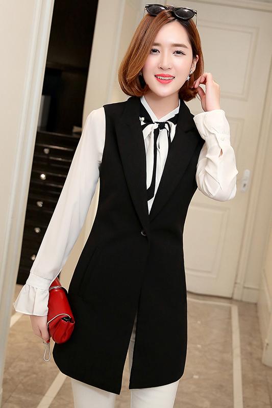 เสื้อกั๊กสูทแฟชั่น เสื้อกั๊กแฟชั่น เสื้อดำ เสื้อสูทแขนกุด พร้อมส่ง สีดำ เนื้อผ้าPolyester งานสวย คุณภาพดี