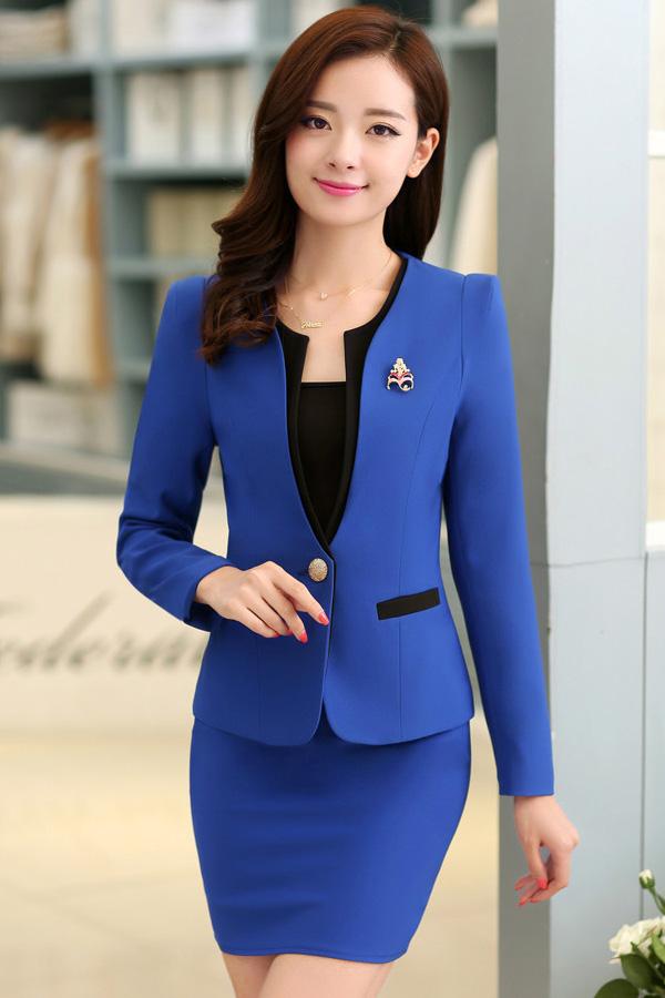 (พร้อมส่ง XL,XXXL)ชุดสูททำงาน เซ็ตคู่ เสื้อสูทสีน้ำเงินแต่งขริบสีดำ คอวีลึกติดกระดุมเม็ดเดียวเก๋ แขนยาว กระโปรงทรงเอ