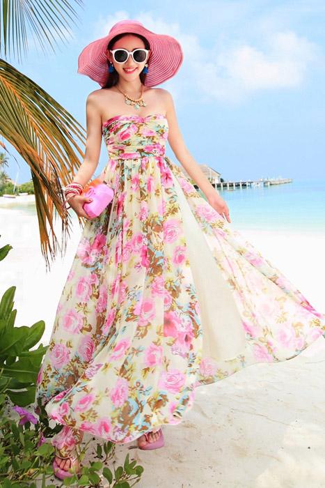 ชุดเดรสยาว MAXIDRESS พร้อมส่ง เกาะอก ลายดอกไม้สีชมพู สวยมาก สม๊อคหลัง