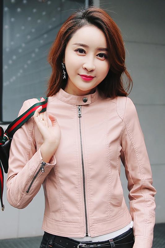 เสื้อแจ็คเก็ต เสื้อหนังแฟชั่น พร้อมส่ง สีชมพู คอจีน ตัวสั้น หนังด้าน ดีเทลซิบรูดปลายแขนเก๋ ติดกระดุมแป๊กตรงคอเสื้อสุดเท่ห์ หนัง PU คุณภาพดี