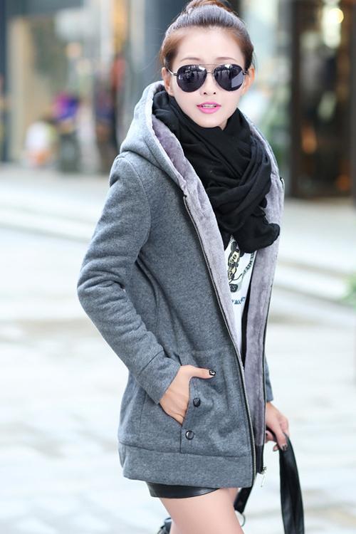 เสื้อกันหนาว พร้อมส่ง สีเทา ซิบหน้า มีฮูทสุดเท่ห์ ฮูทบุด้วยขนสัตว์สังเคราะห์นิ่มๆ