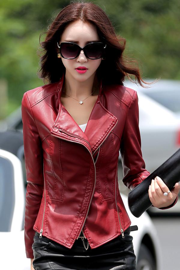 เสื้อแจ็คเก็ต เสื้อหนังแฟชั่น พร้อมส่ง สีแดงเข้ม ทำจากหนังแกะสังเคราะห์ หนังเนื้อนิ่ม Premium Quality สินค้าสวยหนังดี