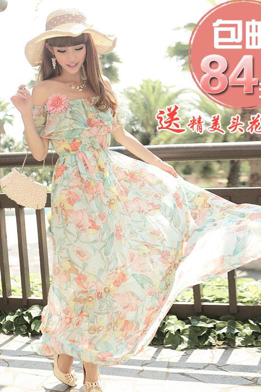 MAXI DRESS ชุดเดรสยาว พร้อมส่ง ผ้าชีฟอง ลายดอกไม้ โทนเขียวอมฟ้า