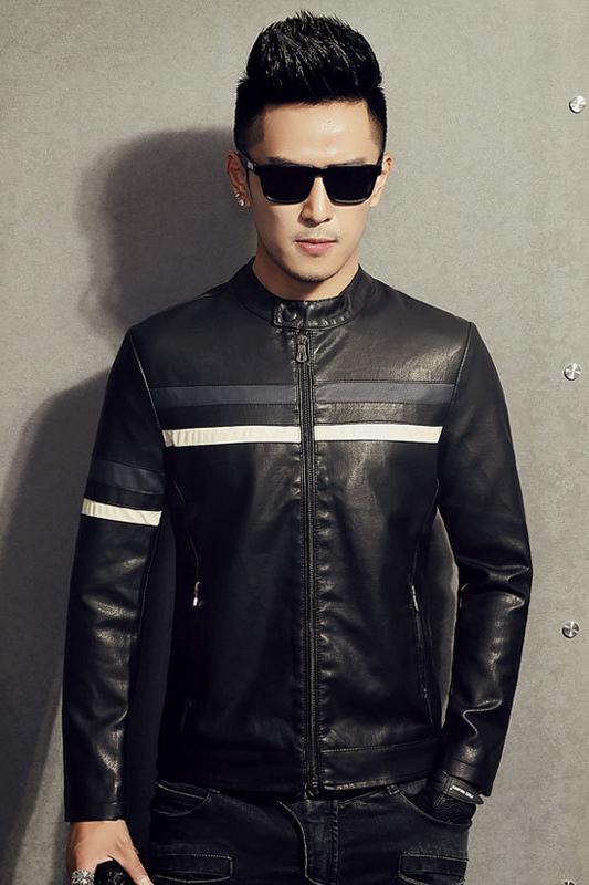 แจ็คเก็ตหนังผู้ชาย เสื้อหนังผู้ชาย สีดำ คอจีน หนัง PU คุณภาพงานพรีเมี่ยม หนังนิ่ม