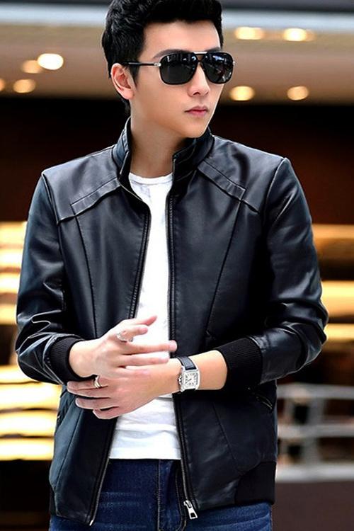 แจ็คเก็ตหนังผู้ชาย เสื้อหนังผู้ชาย สีดำ หนัง PU คุณภาพงานพรีเมี่ยม หนังมันเงา คอจีน มีซับใน