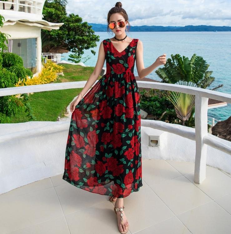 ชุดเดรสยาว MAXIDRESS พร้อมส่ง สีแดง พื้นผ้าสีดำลายดอกกุหลาบสีแดง แขนกุด ผ้าชีฟอง เนื้อนิ่ม ใส่สบาย เอวล๊อค