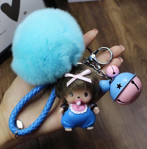 พวงกุญแจ ขนฟู รุ่น Baby doll สีฟ้า 02