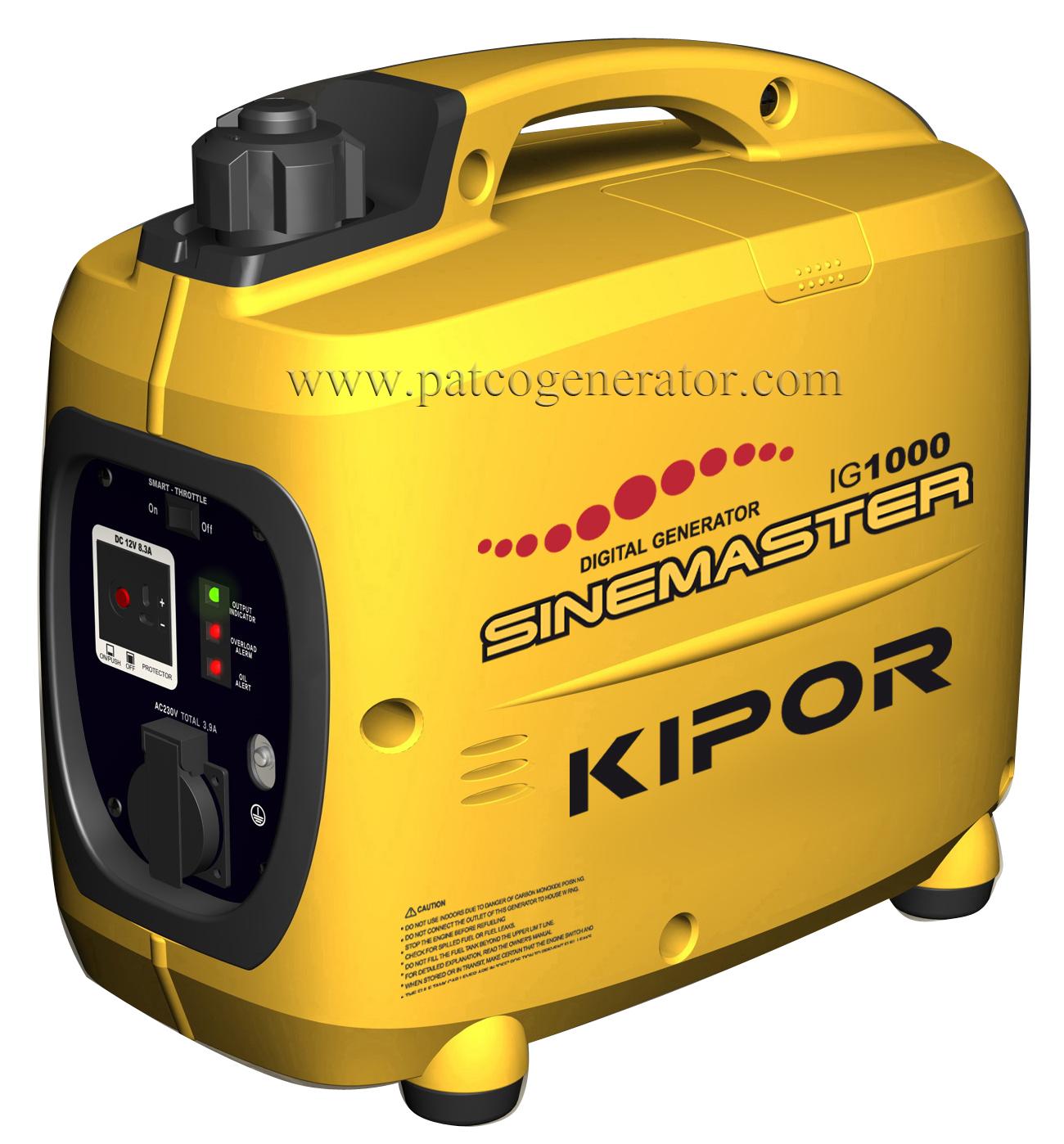 """เครื่องกำเนิดไฟฟ้าเครื่องยนต์เบนซินขนาด 1 KVA """"KIPOR""""# IG1000 (PORTABLE GASLOLINE GENERATOR """"KIPOR"""" # IG1000 1 KVA)"""