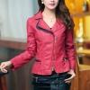 เสื้อแจ็คเก็ต เสื้อหนังแฟชั่น พร้อมส่ง สีแดง คอปกแต่งขลิบสีดำ เข้ารูป สุดเท่ห์ หนัง PU คุณภาพดี