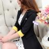 เสื้อสูทแฟชั่น พร้อมส่ง สีดำ ตัวยาว คลุมสะโพก แขนสามส่วน แต่งแขนพับสีเหลือง คอปกเก๋