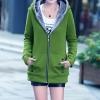 เสื้อกันหนาว พร้อมส่ง สีเขียว ซิบหน้า มีฮูทสุดเท่ห์ ฮูทบุด้วยขนสัตว์สังเคราะห์นิ่มๆ