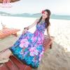 maxi dress ชุดเดรสยาว พร้อมส่ง สีฟ้า คอวีลึก สายคล้องคอผูกโบว์ ลายดอกไม้สีชมพูหวาน