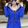 เสื้อกันหนาว พร้อมส่ง สีน้ำเงิน ซิบหน้า มีฮูทสุดเท่ห์ ฮูทบุด้วยขนสัตว์สังเคราะห์นิ่มๆ