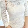 เสื้อลูกไม้แฟชั่น พร้อมส่ง สีขาว น่ารัก แขนสามส่วน เปิดไหล่กว้างเซ็กซี่ สวยสไตล์ คุณหนูสุดๆ