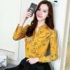 เสื้อเชิ้ตทำงาน เสื้อแฟชั่น สีเหลือง คอจีนจับกลีบ ลายดอกไม้สวย แต่งกระดุมช่วงคอเสื้อ เนื้อผ้า ลื่นๆใส่สบาย