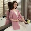 เสื้อคลุมแฟชั่น พร้อมส่ง สีชมพู ผ้าไหมพรม เนื้อนิ่ม ถักลายฉลุน่ารัก มีความยืดหยุ่นได้ดี