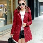 เสื้อโค้ท เสื้อกันหนาว พร้อมส่ง สีแดง แขนยาวจั๊มปลายแขน แต่งตัดด้วยสีน้ำตาลสีสวย