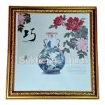 กรอบรูปภาพดอกโบตั๋นและแจกันจีน แบบที่ 1