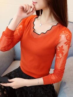 เสื้อยืดแฟชั่น เสื้อแฟชั่น สีส้ม คอเสื้อเก๋ แต่งแขนเสื้อด้วยผ้ามุ้ง ติดกระดุมเม็ดคู่เก๋ เนื้อผ้า Cotton ยืดหยุ่น ใส่สบาย
