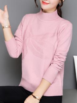 เสื้อกันหนาวไหมพรม พร้อมส่ง สีชมพู คอเต่า แต่งลายน่ารัก แขนยาว ตัวยาวสั้น