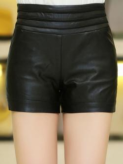 กางเกงหนัง พร้อมส่ง สีดำ กางเกงหนังขาสั้น ทำจากหนังแกะสังเคราะห์