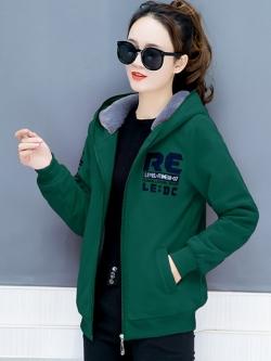 เสื้อกันหนาว พร้อมส่ง สีเขียว ซิบหน้า ตัวสั้น ปักตัวอักษรเก๋ ซับในด้านผ้าขนสัตว์สังเคราะห์นิ่มเฉพาะตัวเสื้อและฮูทสุดเท่ห์