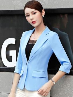 เสื้อสูทแฟชั่น เสื้อสูทสำหรับผู้หญิง พร้อมส่ง สีฟ้า คอปก แขนพับสามส่วน หัวไหล่ยกนิดๆ ไม่มีซับในระบายอากาศได้ค่ะ
