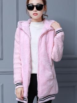 เสื้อกันหนาว พร้อมส่ง สีชมพู ช่วงตัวเสื้อบุด้วยผ้าขนสัตว์ฟูๆ แบบซิบรูด มีฮูทสุดเท่ห์
