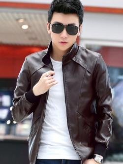 แจ็คเก็ตหนังผู้ชาย เสื้อหนังผู้ชาย สีน้ำตาล หนัง PU คุณภาพงานพรีเมี่ยม หนังมันเงา คอจีน มีซับใน ใส่เที่ยว
