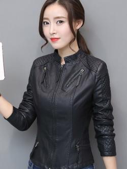 เสื้อแจ็คเก็ต เสื้อหนังแฟชั่น พร้อมส่ง สีดำ คอจีน หนังนิ่ม ใส่สบาย