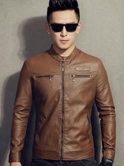 (มีสินค้าพร้อมส่ง XL )แจ็คเก็ตหนังผู้ชาย เสื้อหนังผู้ชาย สีน้ำตาล หนัง PU คุณภาพงานพรีเมี่ยม ทรงเรียบ งานสวยเหมือนแน่นอนค่ะ