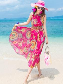 ชุดเดรสยาว MAXIDRESS ชุดเดรสไปทะเล พร้อมส่ง สีชมพูสดใส ลายนกยูง สวยหวาน มีซับใน
