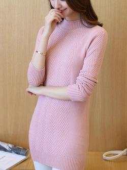 เสื้อกันหนาวไหมพรม พร้อมส่ง สีชมพู คอปิด แต่งลายสลับพันธุ์น่ารักๆ แขนยาว ตัวยาวคลุมสะโพก ใส่กันหนาวได้ค่ะ