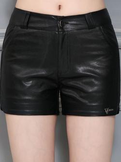 กางเกงหนัง พร้อมส่ง กางเกงหนังขาสั้น สีดำ ทำจากหนังแกะสังเคราะห์ หนังเนื้อนิ่ม