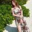 ชุดเดรสยาว MAXIDRESS พร้อมส่ง สีพื้นขาว ลายใบไม้สีเขียว ดอกไม้สีแดงสวย สายผูกคล้องคอ โชว์ไหล่เซ็กซี่ thumbnail 3