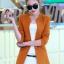 เสื้อสูทแฟชั่น พร้อมส่ง สีส้มอิฐ แขนยาว คอจีน ตัวยาวคลุมสะโพก ติดกระดุมเม็ดเดียวเก๋ thumbnail 1