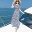 MAXI DRESS ชุดเดรสยาว พร้อมส่ง สีกรม ลายตัดสีขาวเก๋ สวยดูไฮโซมากๆค่ะ thumbnail 4
