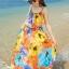MAXI DRESS ชุดเดรสยาว พร้อมส่ง พิมพ์ลายดอกไม้สีสัน ผ้าชีฟอง เนื้อดี ใส่สบาย มีซับใน สายเดี่ยวเซ็กซี่ thumbnail 1
