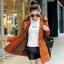 เสื้อโค้ท เสื้อกันหนาว พร้อมส่ง สีส้ม แขนยาวจั๊มปลายแขน แต่งตัดด้วยสีน้ำตาลสีสวย thumbnail 2