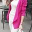 เสื้อคลุมแฟชั่น พร้อมส่ง สีชมพูบานเย็น แขนยาว แต่งด้วยปกโฉบเฉี่ยวยอดนิยม thumbnail 2