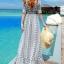 Maxi dress ชุดเดรสยาว พร้อมส่ง พื้นขาวสลับลายดอกไม้สีเขียว แขนสั้น คอวีลึก แต่งระบายชายกระโปรงพริ้วๆ สม๊อคช่วงเอว thumbnail 7