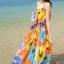 MAXI DRESS ชุดเดรสยาว พร้อมส่ง พิมพ์ลายดอกไม้สีสัน ผ้าชีฟอง เนื้อดี ใส่สบาย มีซับใน สายเดี่ยวเซ็กซี่ thumbnail 2